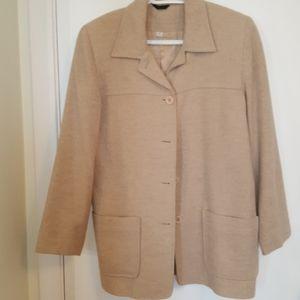Daniel Hechter beige wool warm long jacket
